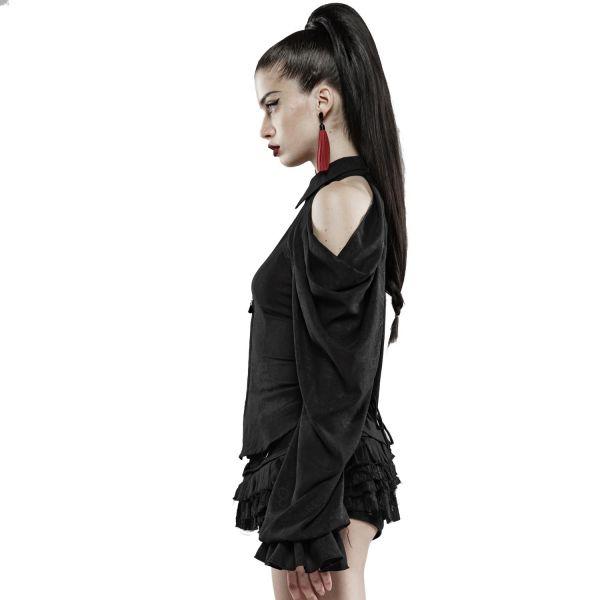 Sexy Off-Shoulder Bluse mit abnehmbaren Volant Ärmeln