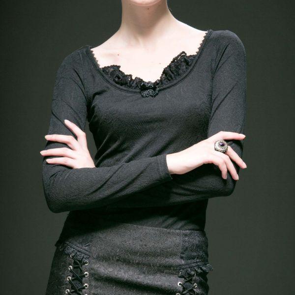 Shirt mit Brokatmuster, Spitze und Schnürung am Rücken