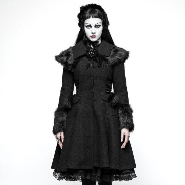 Gothic Lolita Wintermantel in Glockenform mit Cape