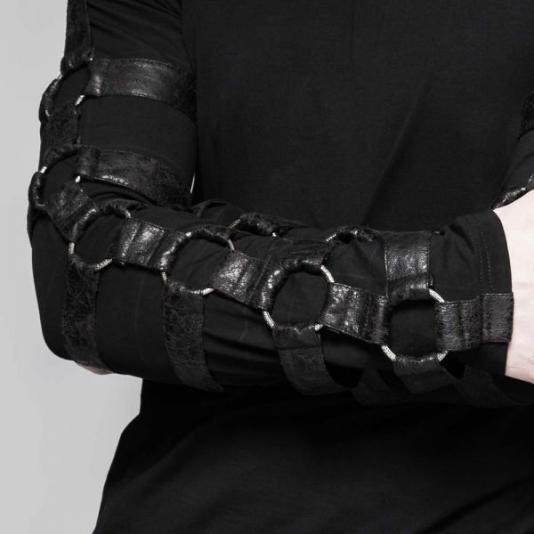 Bondage Langarmshirt mit grossen Metallringen