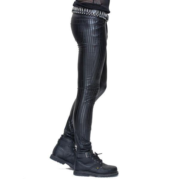 Slim Fit Hose in glänzender Nadelstreifen Lederoptik