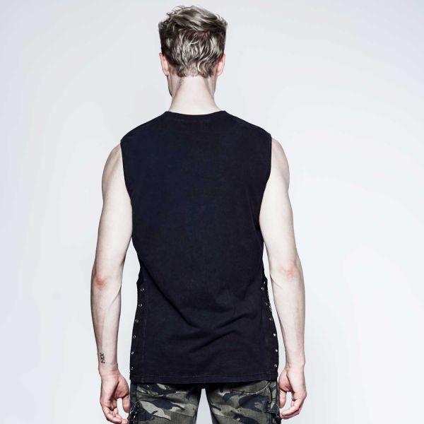 Shirt mit Netz, Ketten und 3D Fledermaus Druck