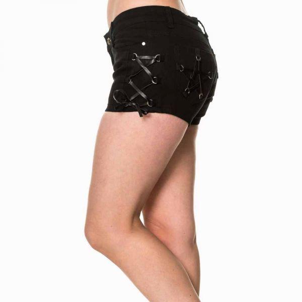 Hotpants mit Pentagramm und Seiten Schnürungen