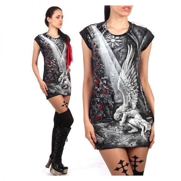 Schwarzes Freizeitkleid mit Engel und Rosenblüten Print