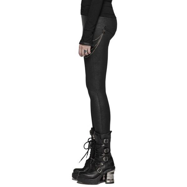 Industrial Leggings im Leder-Reptilien-Look mit Ketten