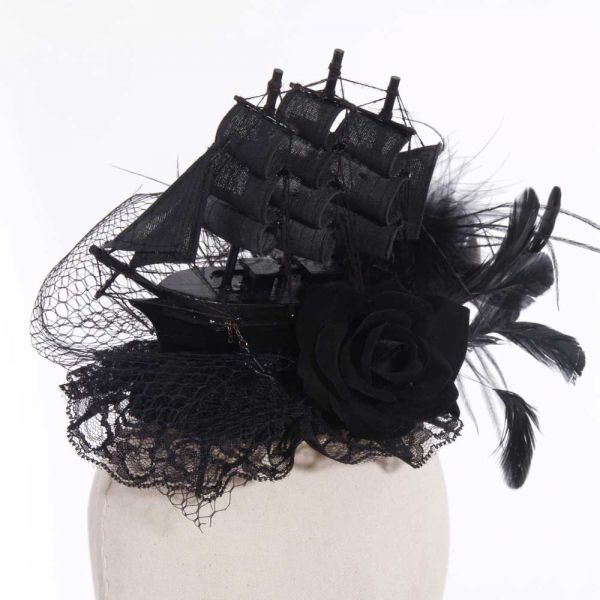 Gothic Fascinator Kopfschmuck Black Ship