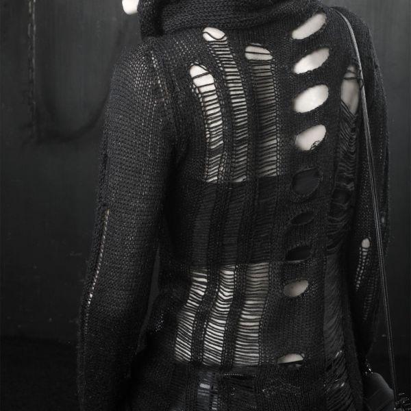 Gothic Style Rollkragen Pullover im destroyed Look