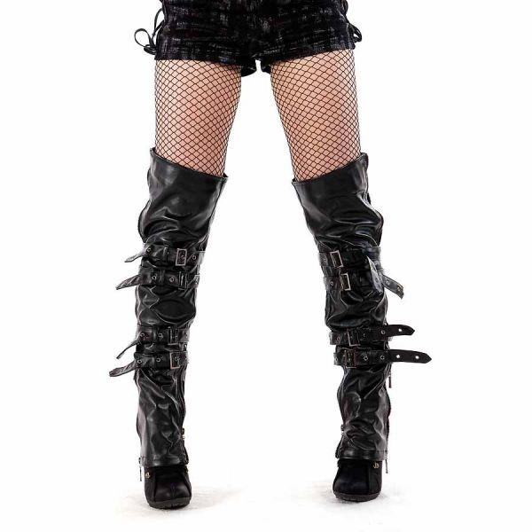 Buckle Beinstulpen in Lederoptik mit Zipper Fetisch