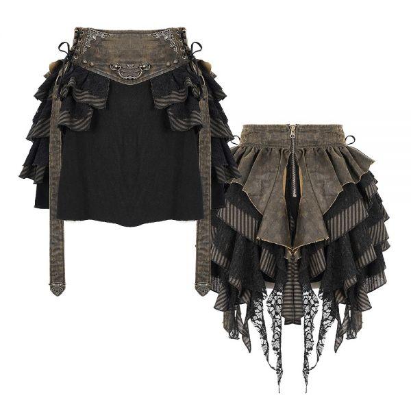 Steampunk Rüschen Minirock mit Bund im Grunge Leder-Look