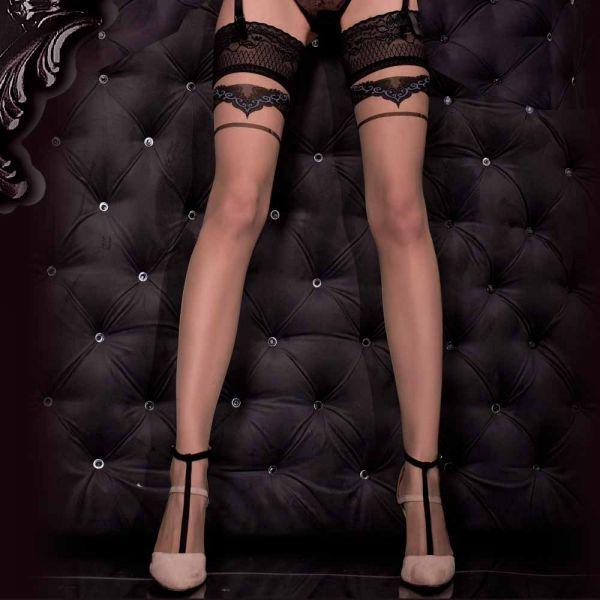 Nude Stockings mit Spitzenrand und grauen Applikationen
