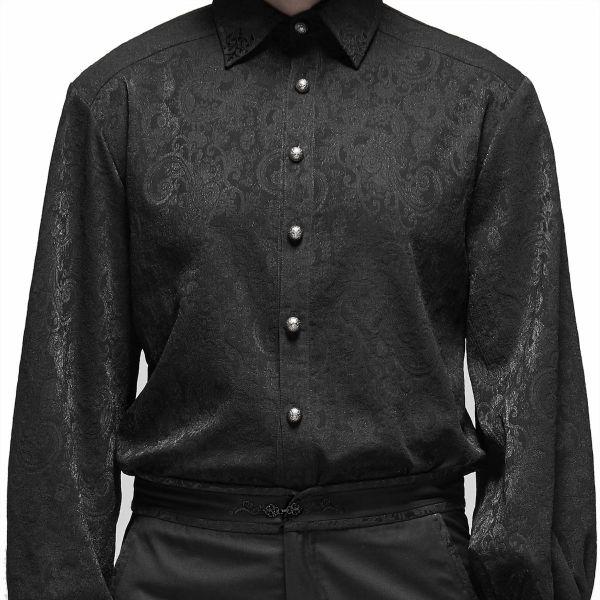 Jacquard Aristokraten Hemd mit Manschettenknöpfen
