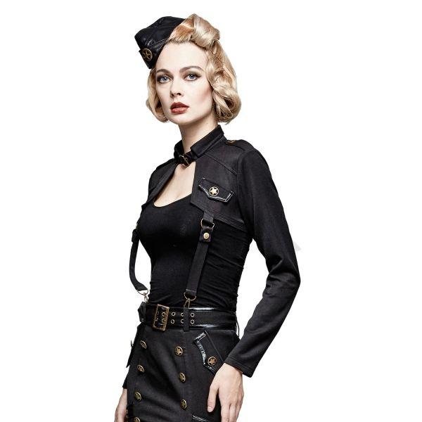 Schwarzer Bolero im Military Uniform Look