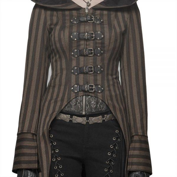 Steampunk Mantel mit Oversize Kapuze und Schnallen