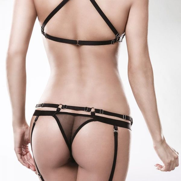 Straps Dessous Set in transparentem Bondage Look