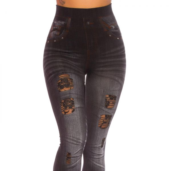 Leggings im washed Jeans Look mit Cut-Outs und Spitze