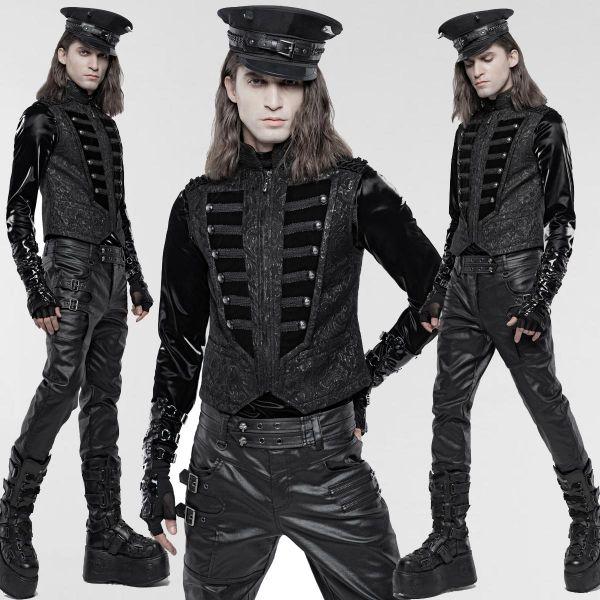 Jacquard Weste im Aristokraten Uniform Look mit Samt