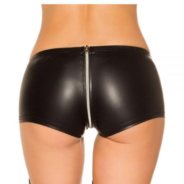 Wetlook Gogo Hotpants mit 2-Wege Zipper