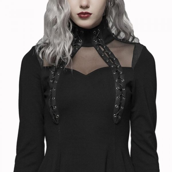 Rock Lolita Glockenkleid mit Netz und Schnürungen