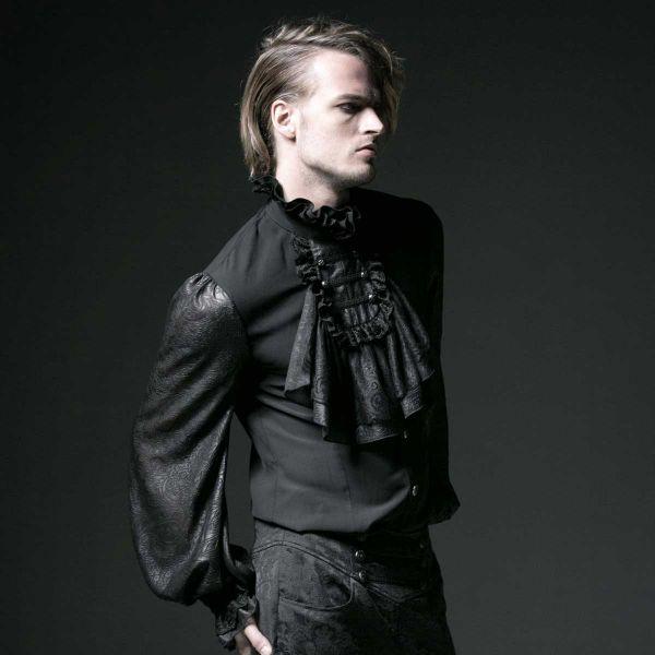 Vampyr Shirt Rüschenhemd - schwarz