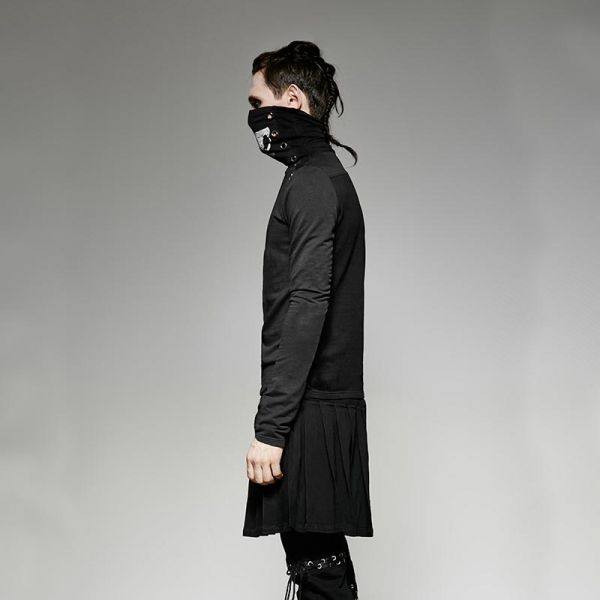 Schwarzes Longsleeve mit Skull Schalkragen und Nieten