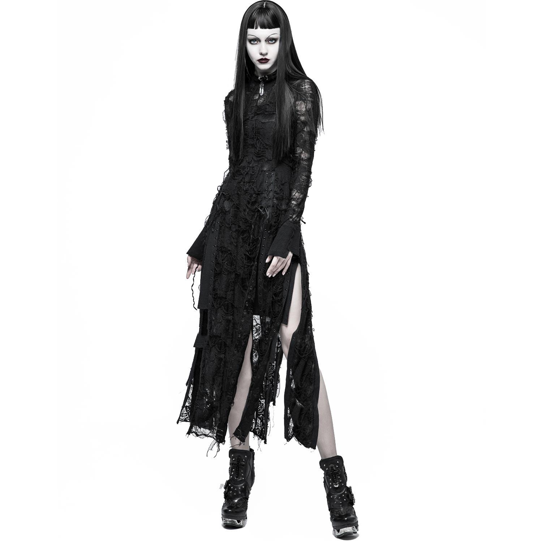 langes schwarzes kleid in zerschlissenem fetzenlook