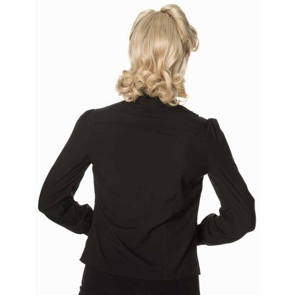 Schwarze Bluse im Retro Look mit Schalkragen