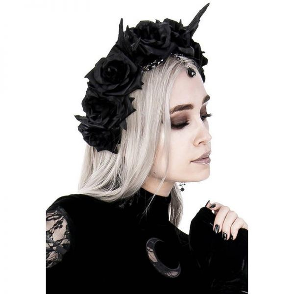 Fantasy Haarreifen - Kleines Geweih mit Ketten und Rosenblüten