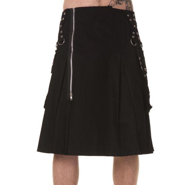 Männer Faltenrock im Gothic Style mit Nieten und Tasche