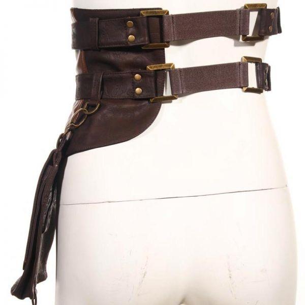 Steampunk Taillengürtel mit Tasche im Harness Look
