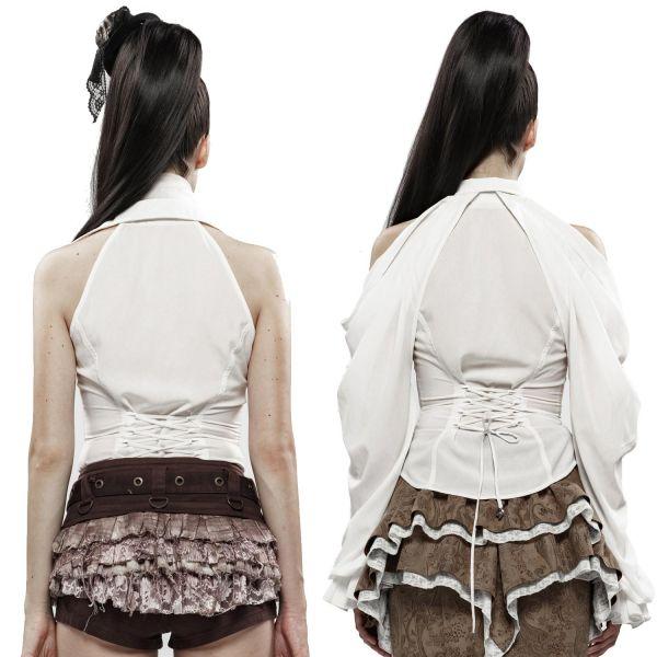 Weiße Off-Shoulder Bluse mit abnehmbaren Volant Ärmeln