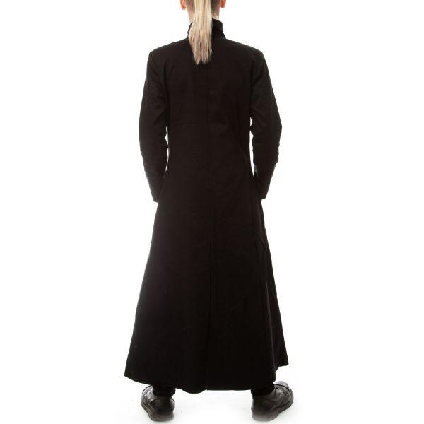 Langer schwarzer Mantel mit Knopfleiste und Taschen
