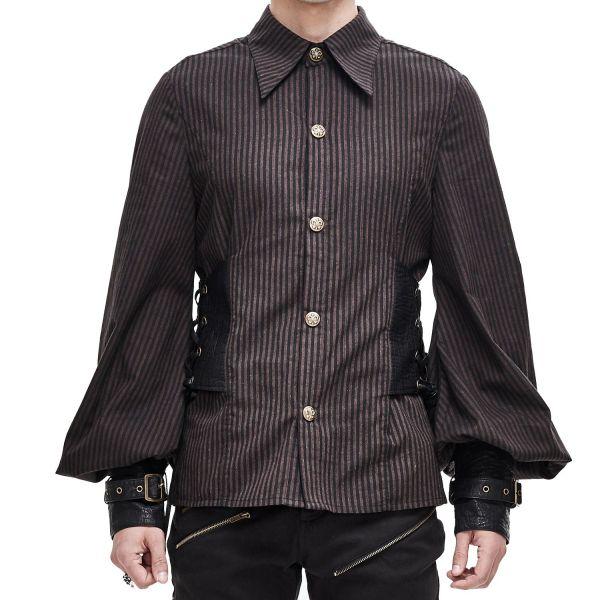 Steampunk Nadelstreifen Hemd mit Bischofsärmeln