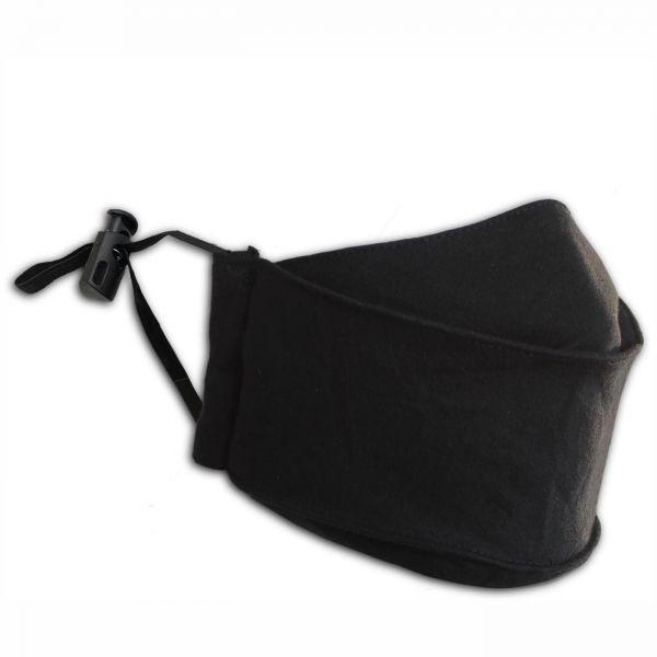 Schwarze Gesichtsmaske mit verstellbaren Ohrschlaufen