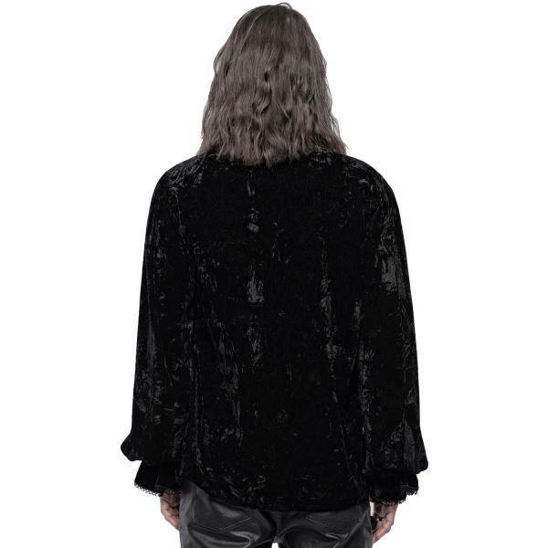 Hemd im Knitter Samt Look mit Ballonärmeln und Rüschen