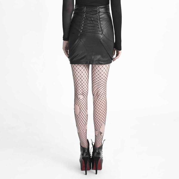 High Waist Bondage Rock im Lederlook