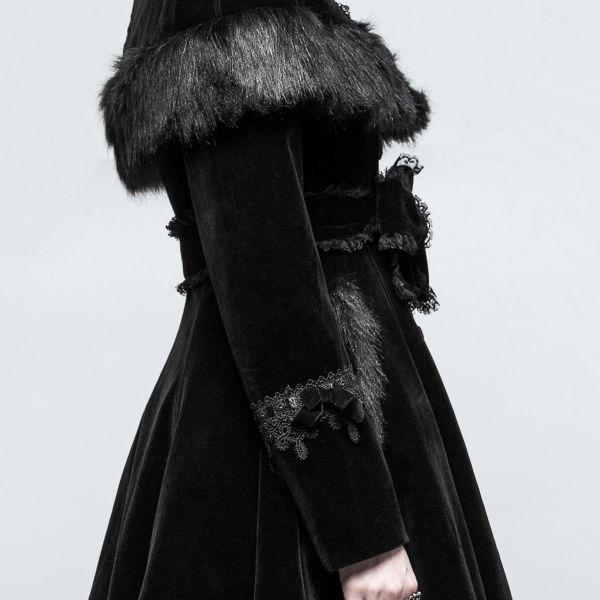 Gothic Lolita Samt Glockenmantel mit Cape und Kapuze
