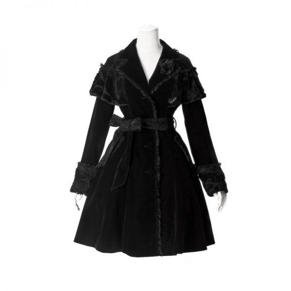 Gothic Lolita Samt-Mantel mit Cape und Gürtel