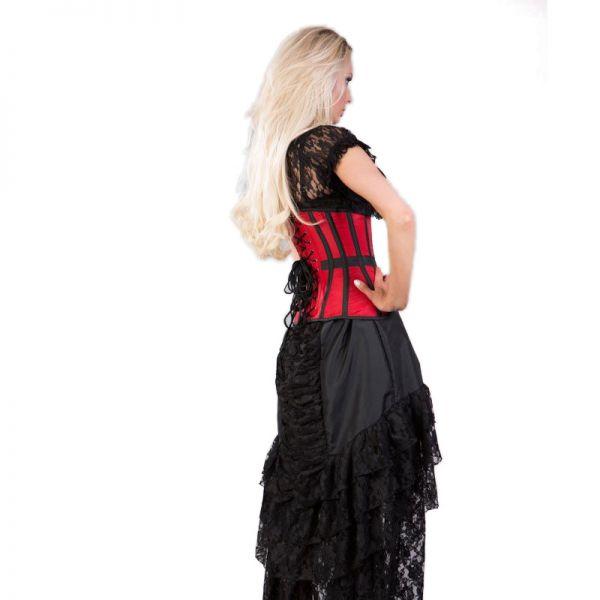 Schwarz-rote Burlesque Straps Unterbrust-Corsage
