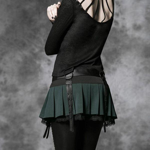 Daily Goth Falten Minirock mit schwarzer Spitze