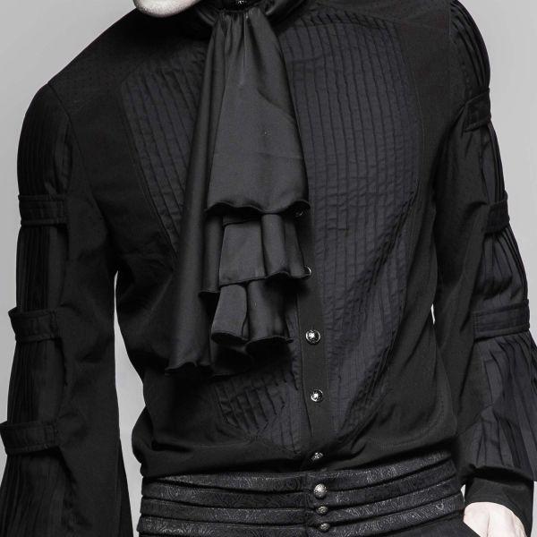 Schwarzes Plissee Hemd mit Schalkragen in Seidenoptik