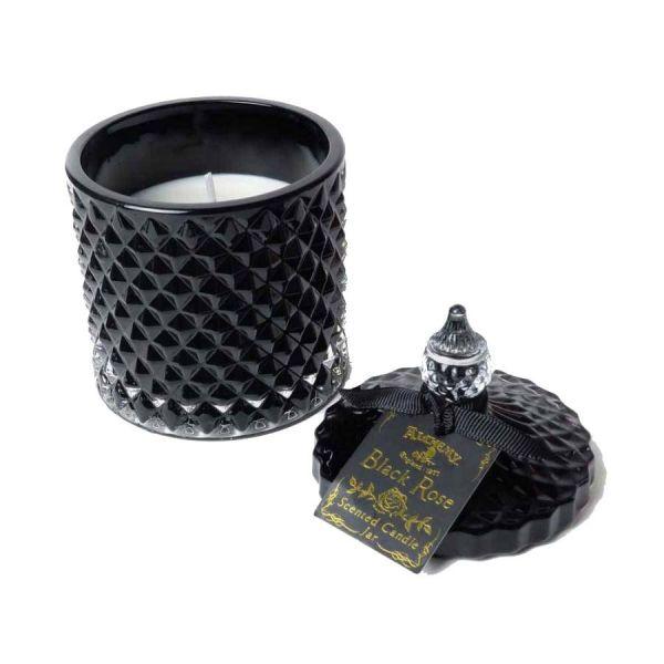Schwarzer Glas-Flakon mit Black Rose Sojawachs Kerze