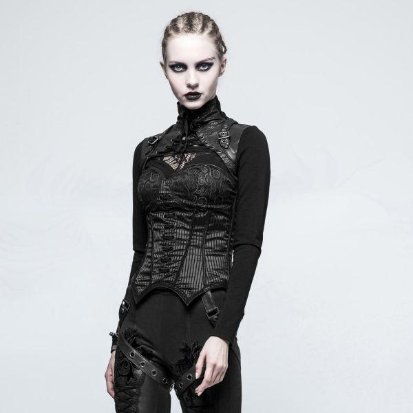 Nu Goth Shirt im Warrior Look mit Lederlook Stehkragen