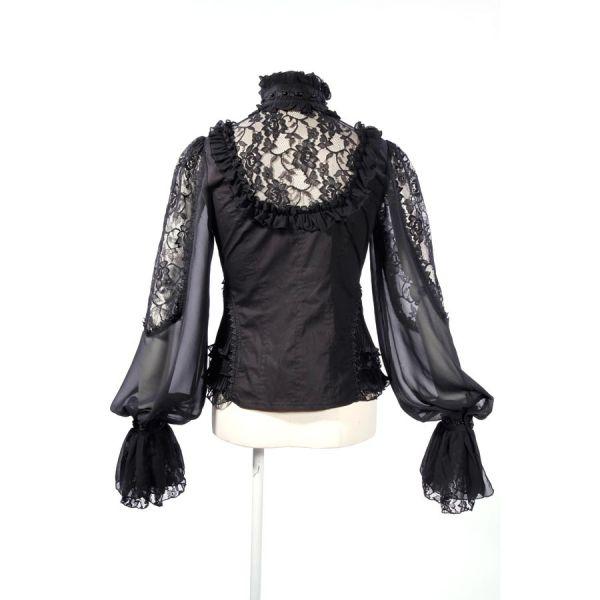 Bluse in viktorianischem Look mit Tüllärmeln