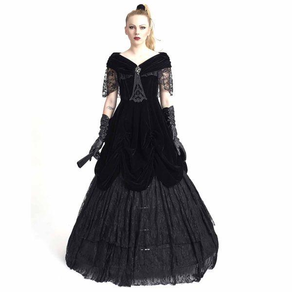 Viktorianisches Ballkleid aus Samt und Spitze