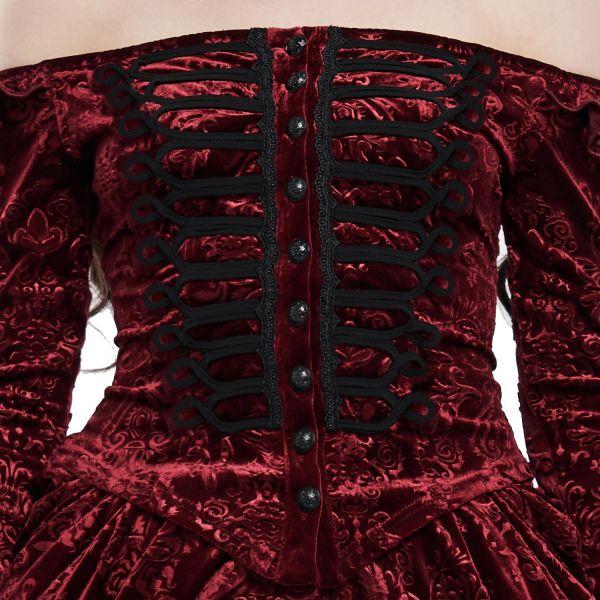 Blutrote Off-Shoulder Bluse in edlem Baroness Stil