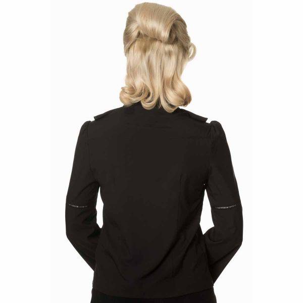 Schwarze Bluse mit Schnürung und Rüschenkragen
