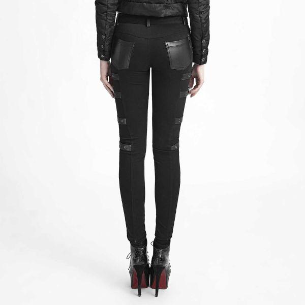Rock Skinny Hose mit Kunstledereinsätzen und Schnallen