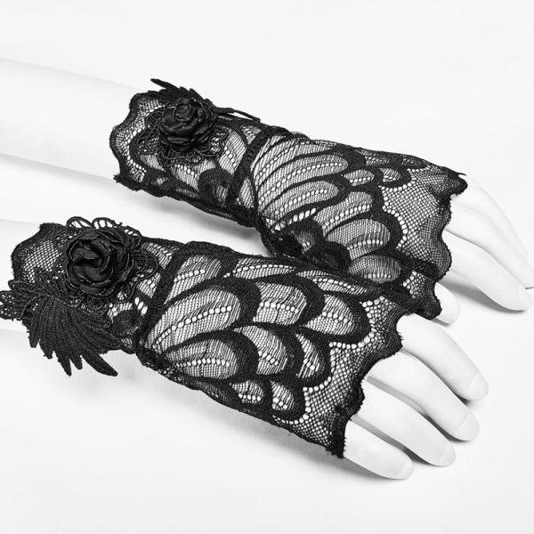 Fingerlose Spitzenhandschuhe mit schwarzen Rosenblüten