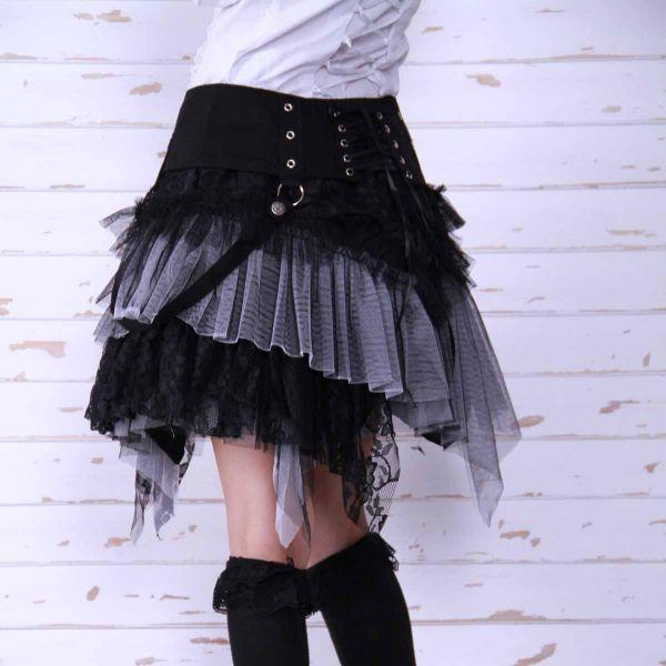 Minirock schwarz-weiss mit Spitze und Gürtel