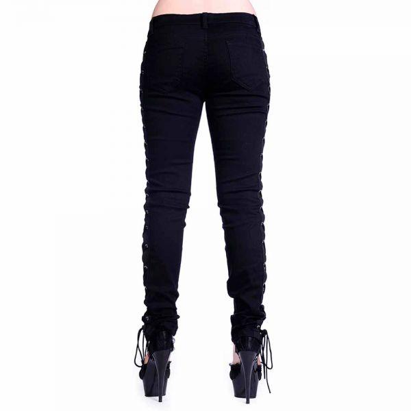 Schwarze Skinny Hose mit Schnürung im Korsett-Style